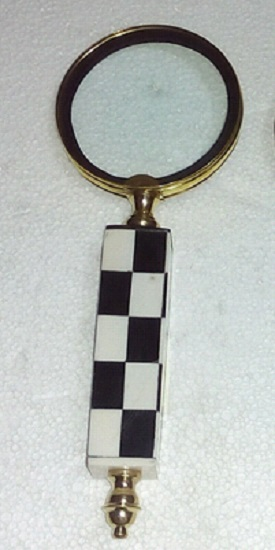 Brass Magnifier With Checkered Handle