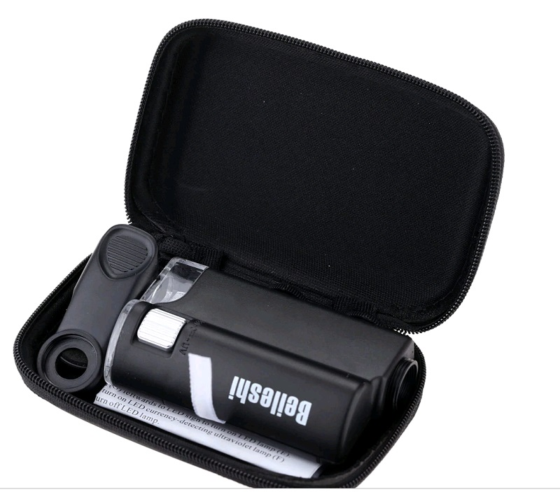 Delux 60 100X Pocket Microscope With Case
